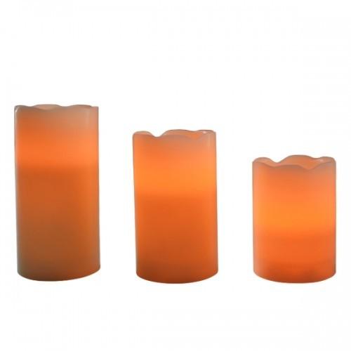 3er set led bougies en cire lumi re vacillante commande. Black Bedroom Furniture Sets. Home Design Ideas