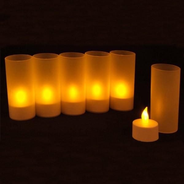 led teelichter mit teelichthalter 6er set mit ladestation teelich kerzen licht ebay. Black Bedroom Furniture Sets. Home Design Ideas