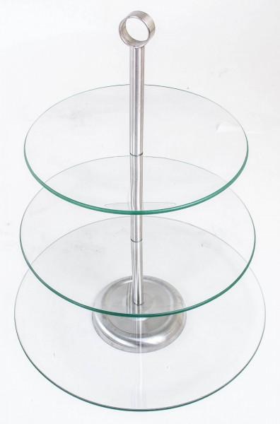 etagere 3 st ckig glas obstschale tortenst nder. Black Bedroom Furniture Sets. Home Design Ideas
