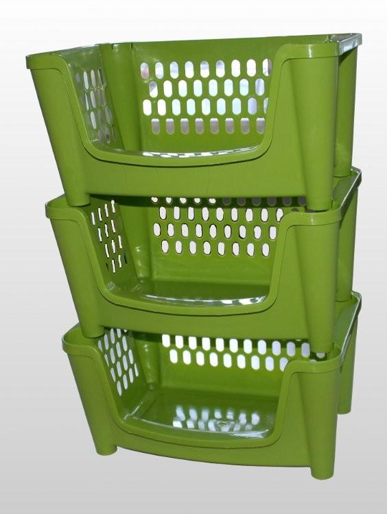 Stapelregal Stapelkorb 3er Set weiss grün pink Wäschekorb stapelbar ...