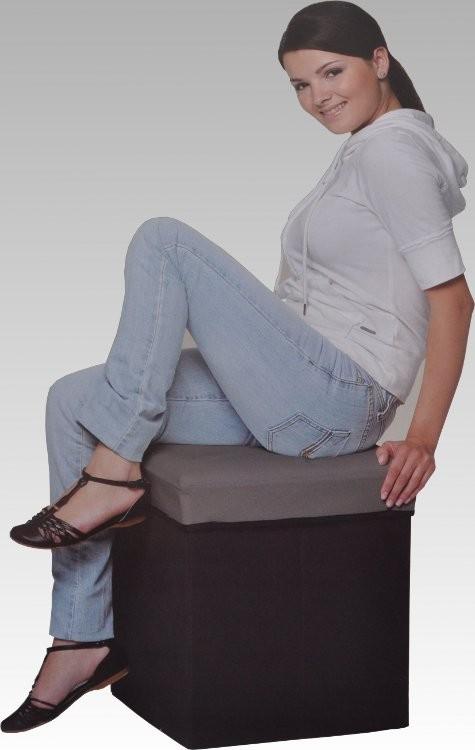 faltbarer sitzhocker hocker sitzw rfel aufbewahrungsbox platzsparend 3 farben ebay. Black Bedroom Furniture Sets. Home Design Ideas