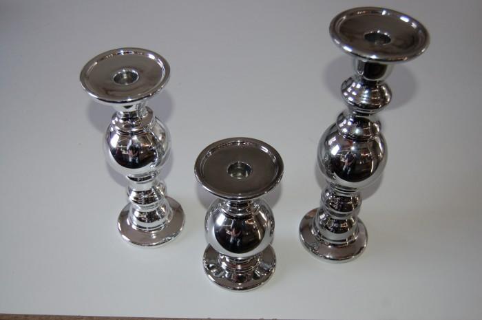 kerzenst nder keramik kerzenhalter silber in 3 gr en kerzenleuchter kerzen ebay. Black Bedroom Furniture Sets. Home Design Ideas
