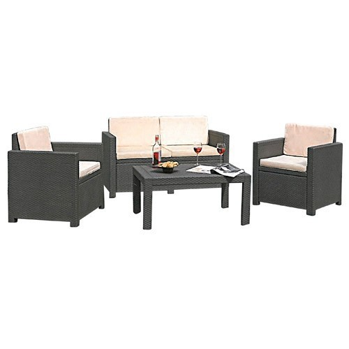 Rattan Lounge Grau Günstig ~  Garnitur Lounge Sitzgruppe Rattan inkl Auflagen Elfenbein Grau  eBay