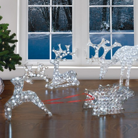 led rentier mit schlitten 48cm weihnachtsdeko weihnachten lichterdeko winter neu ebay. Black Bedroom Furniture Sets. Home Design Ideas