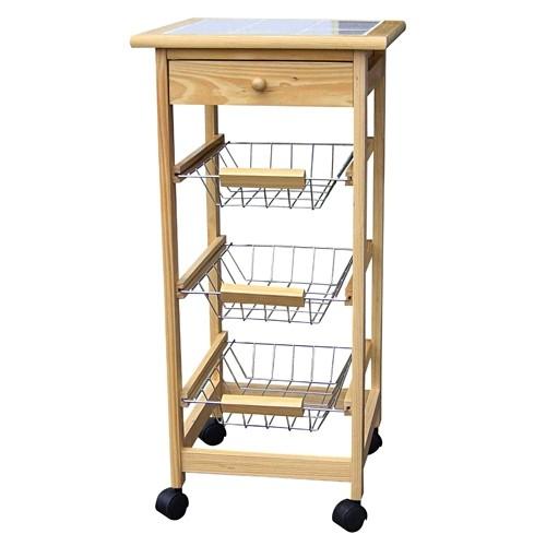 Küchentisch Wagen Beistellwagen Holz Küchenwagen mit 3 ...