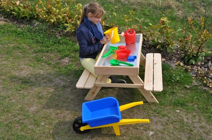 kinderpicknicktisch mit sandkasten picknicktisch sitzbank. Black Bedroom Furniture Sets. Home Design Ideas
