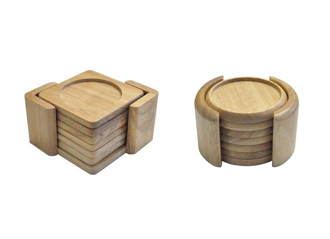 untersetzer 7tlg aus bambus holz eckig oder rund glasuntersetzer tischschoner ebay. Black Bedroom Furniture Sets. Home Design Ideas