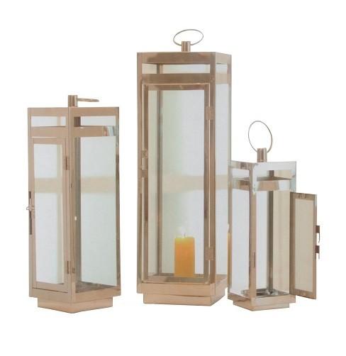 Edelstahl-Laterne-3er-Set-Windlicht-Glas-Glaslaterne-Gartenlaterne ...