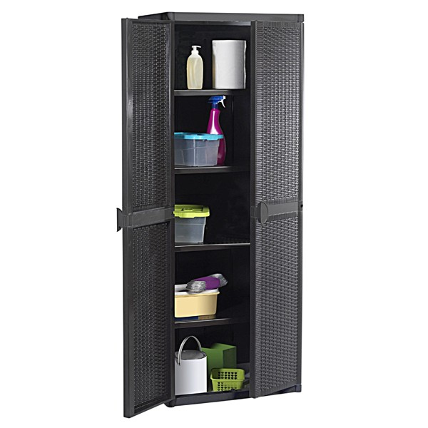 allzweckschrank rattanoptik gartenschrank ger teschuppen ger teschrank schrank ebay. Black Bedroom Furniture Sets. Home Design Ideas