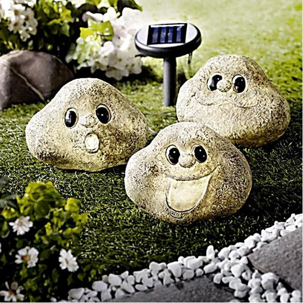 led solar figuren steingesichter gartenbeleuchtung wegbeleuchtung garten deko ebay. Black Bedroom Furniture Sets. Home Design Ideas