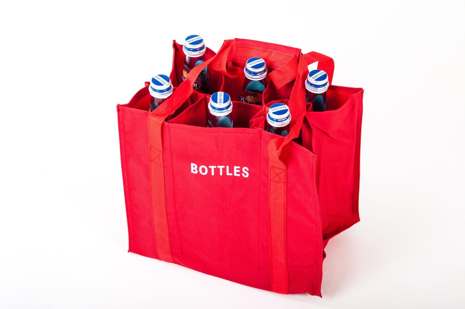 joy flaschentasche aus nylon f r 6 flaschen flaschenkorb einkaufstasche beutel ebay. Black Bedroom Furniture Sets. Home Design Ideas