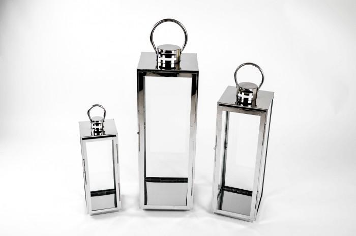 edelstahl laterne 3er set windlicht gartenlaterne gartenlampe glaslaterne lampe ebay. Black Bedroom Furniture Sets. Home Design Ideas