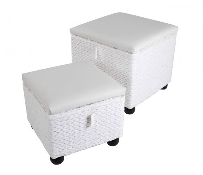 2 tlg set w schebox mit deckel in wei polyrattan w schekorb w schetruhe w sche ebay. Black Bedroom Furniture Sets. Home Design Ideas