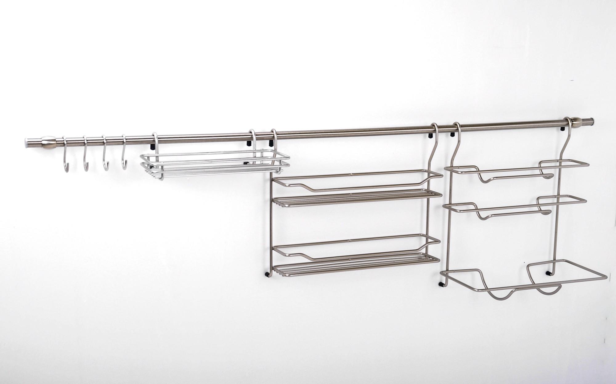 wesco relingsystem edelstahl k chenreling k chenrollenhalter leiste regal ablage ebay. Black Bedroom Furniture Sets. Home Design Ideas