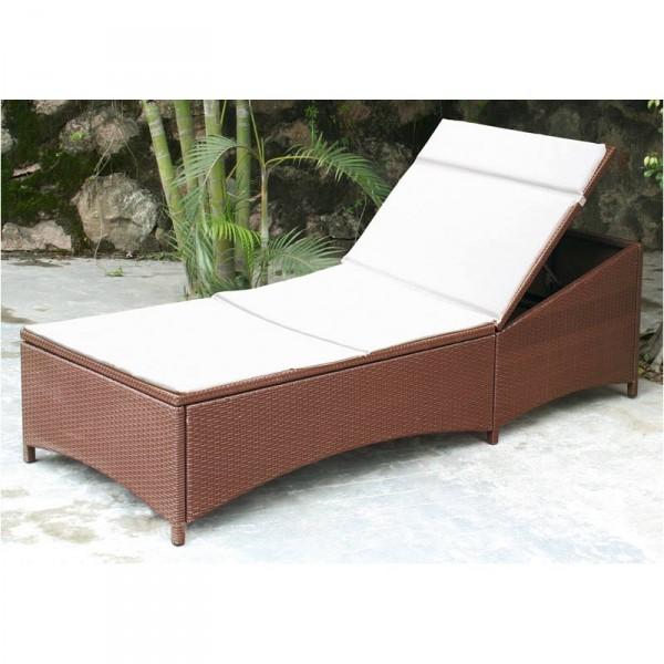 Poly rattan liege braun mit auflage beige gartenliege sonnenliege liegestuhl neu ebay - Gartenliege rattan gunstig ...