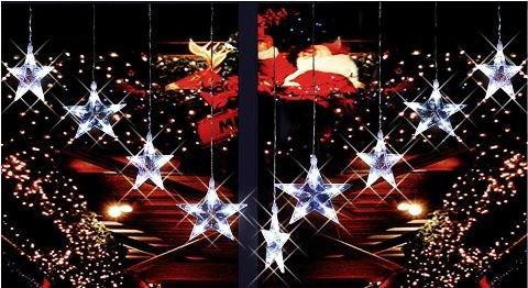 Led lichtervorhang mit 10 sternen licht leuchte for Lichtervorhang weihnachten