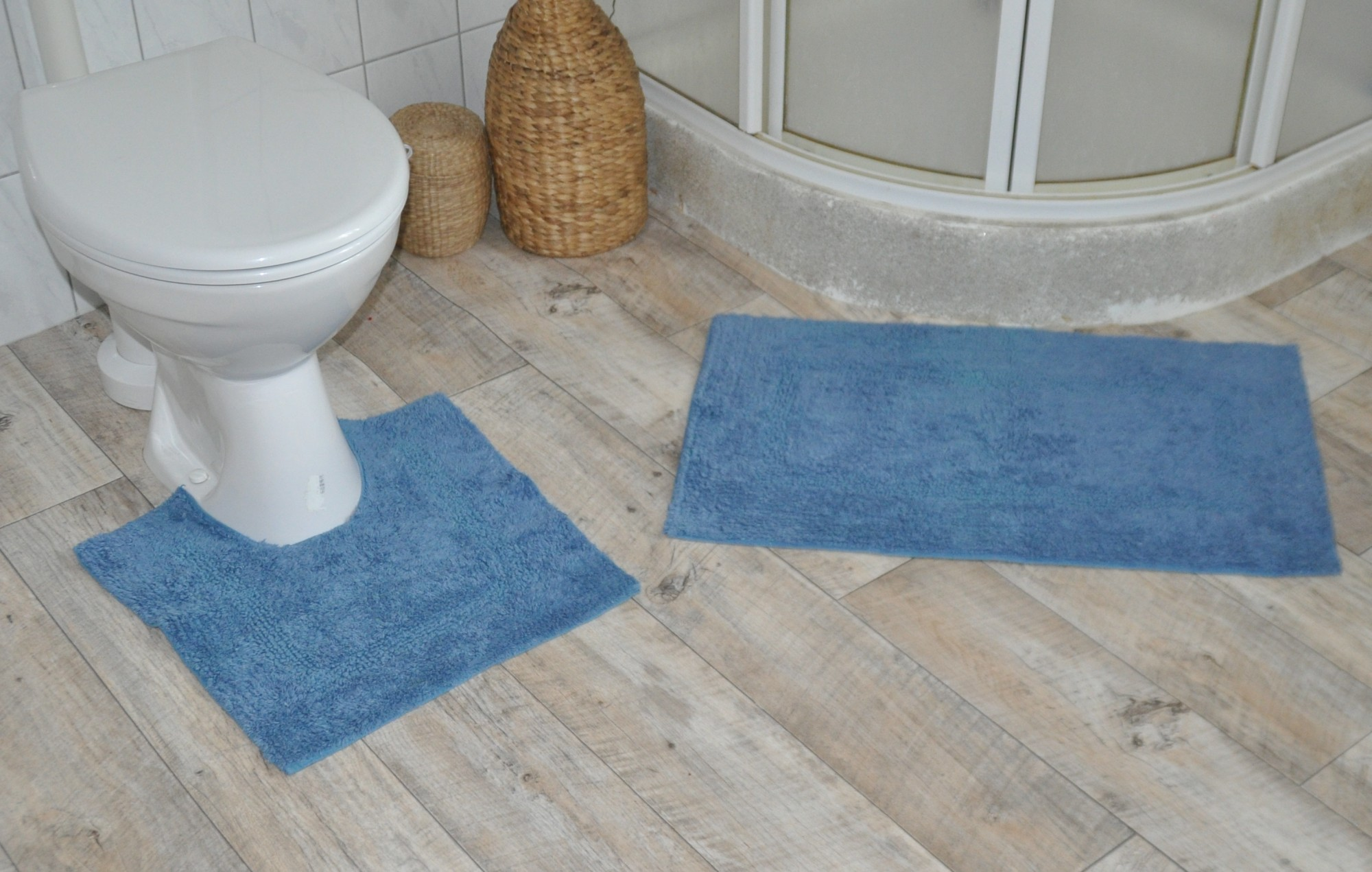 flauschiger WC Vorleger 2tlg aus Baumwolle Badvorleger