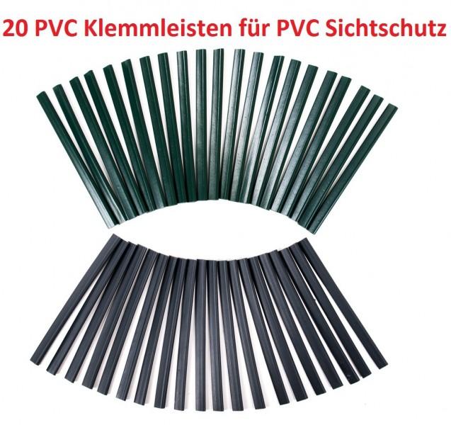 Pvc Sichtschutz Doppelstabmatten : 20 PVC Klemmleisten für Sichtschutz Klemmschienen Zaunblende
