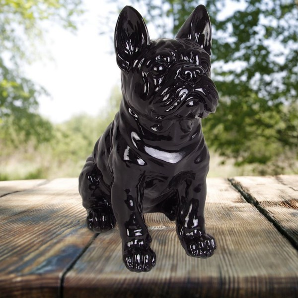 dekofigur franz sische bulldogge 29cm tierfigur gartendeko. Black Bedroom Furniture Sets. Home Design Ideas
