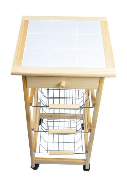 holz k chenwagen mit 3 k rben anrichte serviertisch k chentrolley rollwagen korb. Black Bedroom Furniture Sets. Home Design Ideas