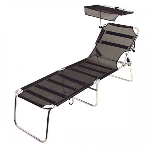 alu liege mit sonnenschutz schwarz gartenliege liege. Black Bedroom Furniture Sets. Home Design Ideas