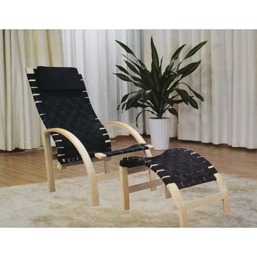 Relax sessel mit hocker und auflage schwarz natur for Kleiner sessel mit hocker